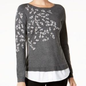 Charter Club Embroidered Sweater NWT Size XS Gray